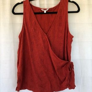 Lucky brand tank top red eyelet